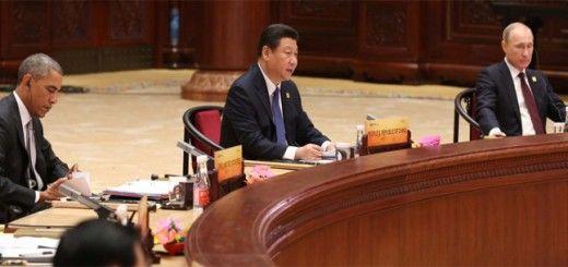 Barack Obama, Xi Jinping y Vladimir Putin en la APEC