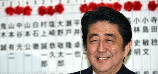 Shinzo Abe tras ganar las elecciones del pasado domingo, 14 de diciembre