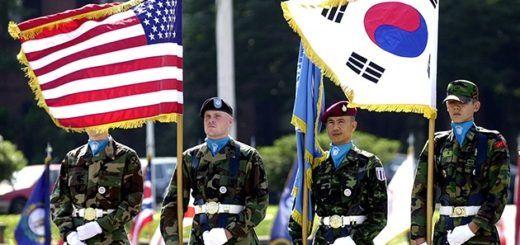 Unidad militar de soldados de Estados Unidos y Corea del Sur